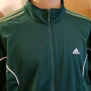 Adidas track workout jacket green white w/ stripes